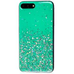 Чехол силиконовый блестки iPhone 7/8 (бирюза)