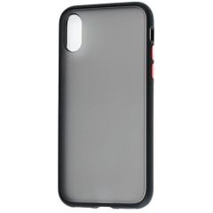 Чехол LikGus Maxshield матовый iPhone XS Max (черно-красный)