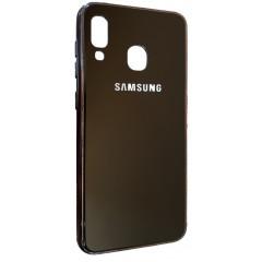 Чехол Glass Case Brand Samsung A20 / A30 (черный)