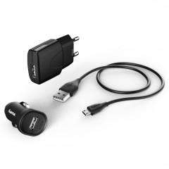 HAMA Комплект ЗУ 3в1, 2х1А., кабель micro USB 1.4 м., black