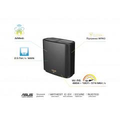 ASUS Маршрутизатор ASUS ZenWiFi XT8 1PK black AX6600 3xGE LAN 1x2.5GE WAN 1xUSB3.1 WiFi6 MESH WPA3 OFDMA