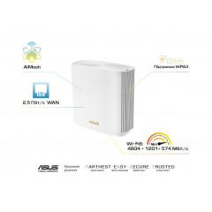 ASUS Маршрутизатор ASUS ZenWiFi XT8 1PK white AX6600 3xGE LAN 1x2.5GE WAN 1xUSB3.1 WiFi6 MESH WPA3 OFDMA