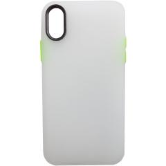 Чехол силиконовый матовый iPhone XS Max (бело-салатовый)
