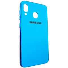 Чехол Glass Case Brand Samsung A20 / A30 (голубой)