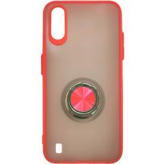 Чехол LikGus Maxshield матовый Samsung Galaxy A01 с держателем на палец (красный)