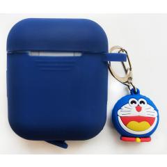 Чехол для Airpods силиконовый с игрушкой (синий)