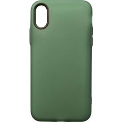 Чехол силиконовый матовый iPhone XS Max (зелено-черный)