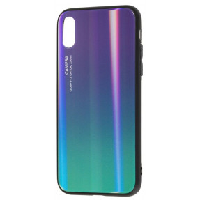 Чехол Glass Case Gradient iPhone XS Max (фиолетовый/зеленый)