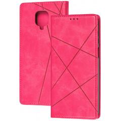 Книга Business Leather Xiaomi Redmi Note 9s/9 Pro (малиновый)