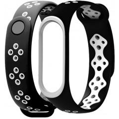 Ремешок для Xiaomi Band 3/4 Mijobs Sport (black-white)