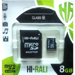 Карта памяти Hi-Rali microSD 8gb (10cl) + adapter