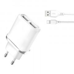 Сетевое зарядное устройство XO (L52) 2в1 2.1A 1USB (белый) + кабель Type-C