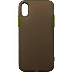 Чехол силиконовый матовый iPhone XS Max (черно-салатовый)