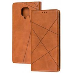 Книга Business Leather Xiaomi Redmi Note 9s/9 Pro (коричневый)