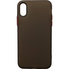 Чехол силиконовый матовый iPhone XS Max (черно-красный)