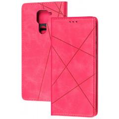 Книга Business Leather Xiaomi Redmi Note 9 (малиновый)