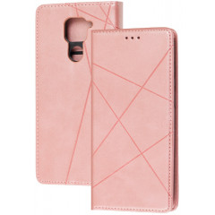 Книга Business Leather Xiaomi Redmi Note 9 (розовый)