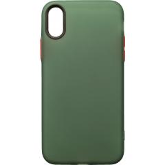 Чехол силиконовый матовый iPhone XS Max (зелено-красный)