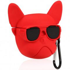 Чехол для AirPods Bulldog с карабином (красный)