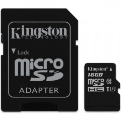 Карта памяти Kingston micro SD 16gb (10cl) + адаптер