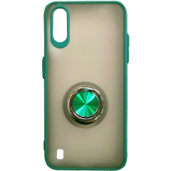 Чехол LikGus Maxshield матовый Samsung Galaxy A01 с держателем на палец (зеленый)