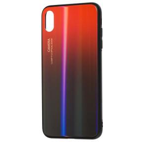Чехол Glass Case Gradient iPhone XS Max (красный-черный)