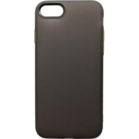 Чехол силиконовый матовый iPhone 7/8 (черно-салатовый)