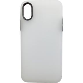 Чехол силиконовый матовый iPhone XS Max (бело-черный)