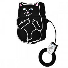 Чехол для AirPods Cat Fakk с кольцом (черный)