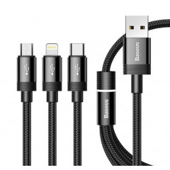 Кабель Baseus 3in1 CAMLT-PY01 USB to Lightning + Micro-USB + Type-C 1.2m