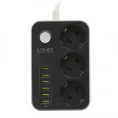 Сетевой удлинитель LDNIO SE3631 3 розетки 6 USB 1.6 м Black